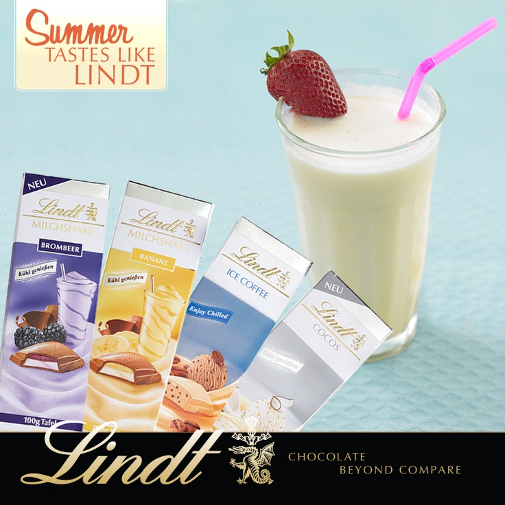 Have you tried our new milkshake bars? Smooth milk chocolate surrounds a luscious, creamy, whipped fruit filling. They're best served chilled. Exclusively at Lindt Chocolate Shops and online.