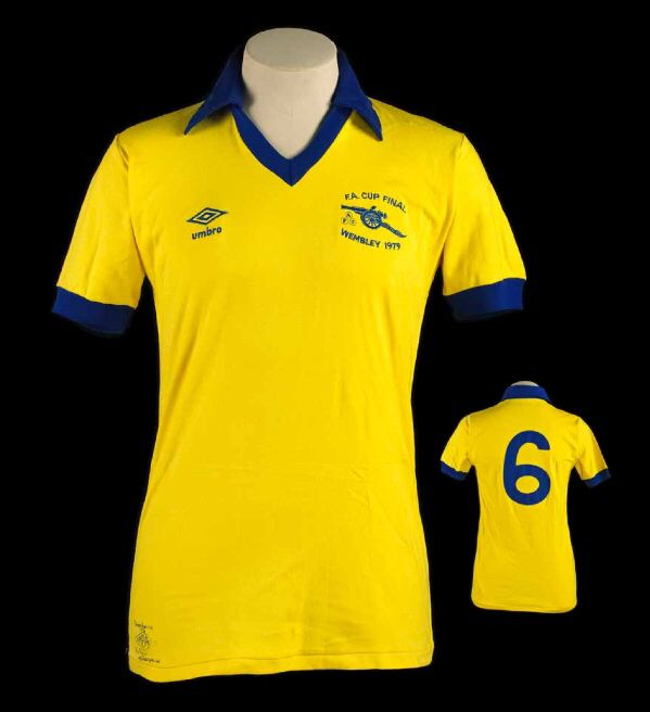 Willie Young's Arsenal 1979 FA Cup Final match worn shirt, as it appears in The Arsenal Shirt book