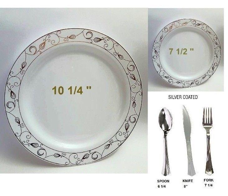 BulkDinner/Wedding Disposable Plastic Round Plates silverwarewhite/silver rim\u2026  sc 1 st  Pinterest & 14 best wedding tableware images on Pinterest | Wedding parties ...