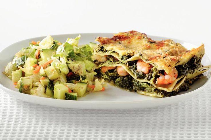 Kijk wat een lekker recept ik heb gevonden op Allerhande! Groene lasagne met garnalen en pestosaus