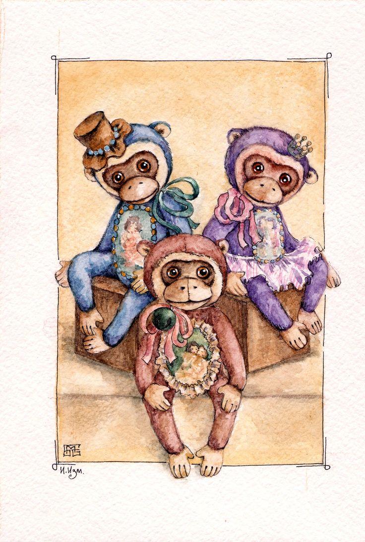 советские открытки обезьяна воды