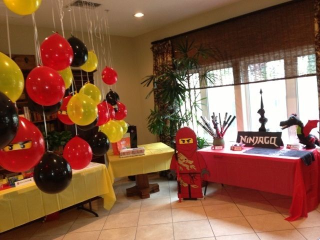 Lego Ninjago Party by BrickDancer, via Flickr love the balloons and the red ninja