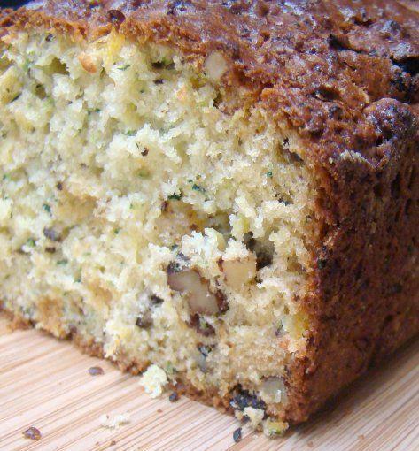 zucchini_hummingbird_bread made with Greek yogurt, raisins, walnuts & crushed pineapple.
