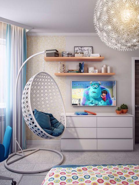 Спальня детская. Интерьер. Детская комната. The teenage girl's room. Bedroom for girl.