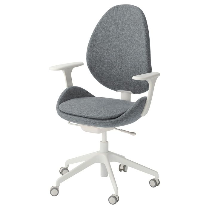 Hattefjall Office Chair With Armrests Gunnared Medium Gray White Ikea Office Chair Swivel Chair Chair