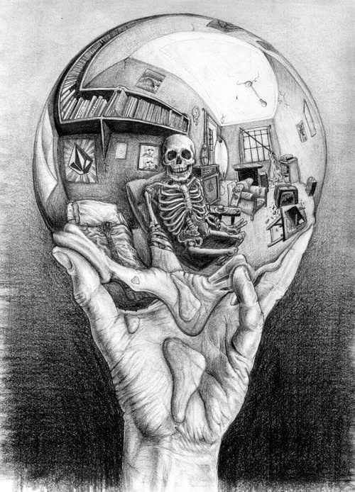 Skull. ... MC Escher Self portrait twist ... mortality