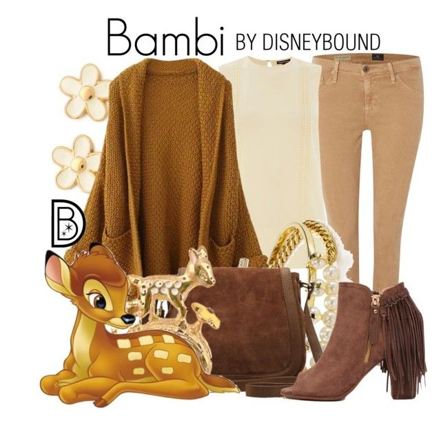 Bambi by leslieakay on Polyvore featuring Warehouse, AG Adriano Goldschmied, Akira Black Label, M&Co, Marc by Marc Jacobs, BaubleBar, disney, disneybound and disneycharacter