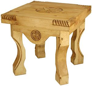 If you're looking for a unique rustic end table, this Yugo table features carved corners, bowed legs and hand-carved stars. The large distressed pine tabletop is forgiving of spills and the occasional errant foot, and there's plenty of surface space for bedtime items or magazines. Made by hand in Mexico, the southwestern style blends well with most furniture designs.