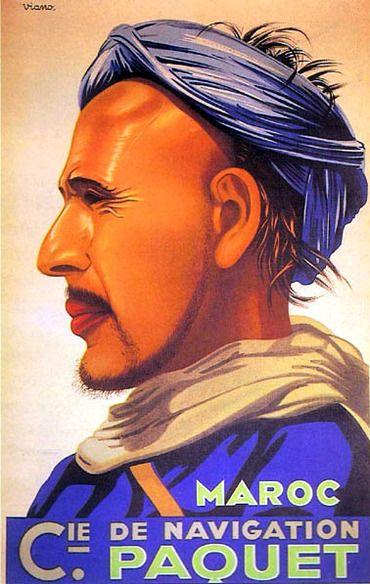 Poster by Vianot, 1925, Cie de Navigation Paquet, Maroc, Imprimerie Moullot.