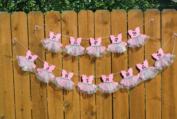 Pink Purple Teal Tutu Happy Birthday Banner por BeingACreativeMom, $30.00