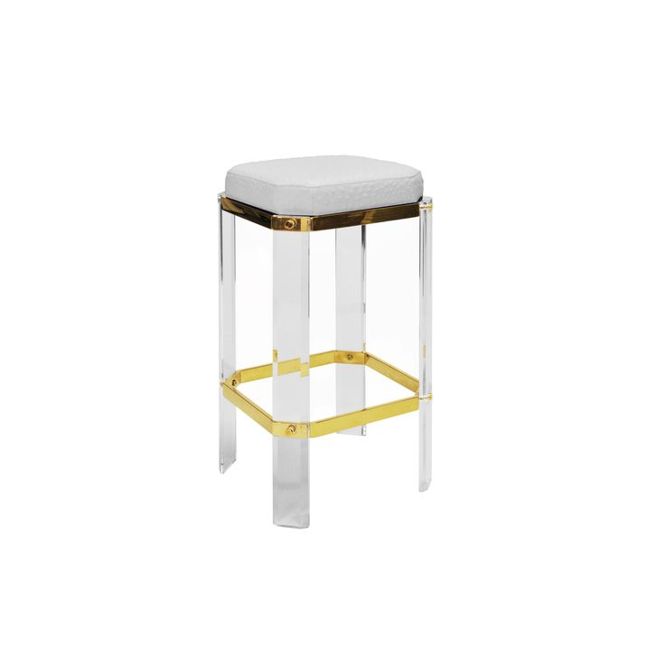 DORSEY OS - ACRYLIC COUNTER STOOL WITH BRASS ACCENTS & WHITE OSTRICH CUSHION