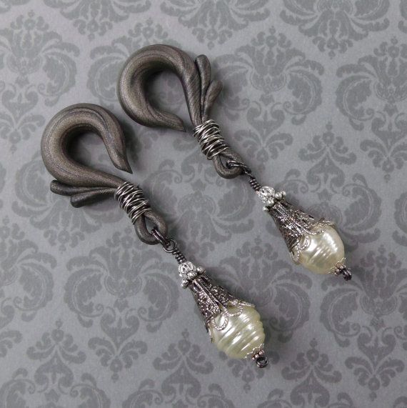 Wire Wrapped Pearl Gauged Earrings by TheCreatorsCreations on Etsy, $34.00