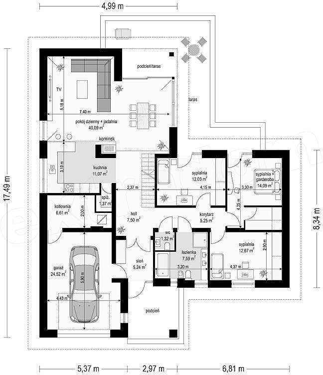 Proiect casă mică cu parter, mansardă, garaj si un interior superb. Astăzi vă prezentăm un proiect de casă mică doar cu parter in suprafată de 118 metri pă