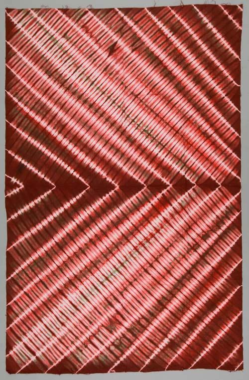 Africa | Wrapper ~ gara cloth ~ from Sierra Leone | ca. 1970s | Cotton; Damask, Tie-dyed