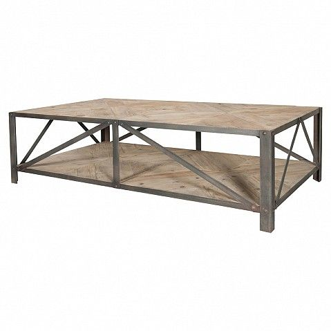 Industrial coffee table with parquet top - Trade Secret