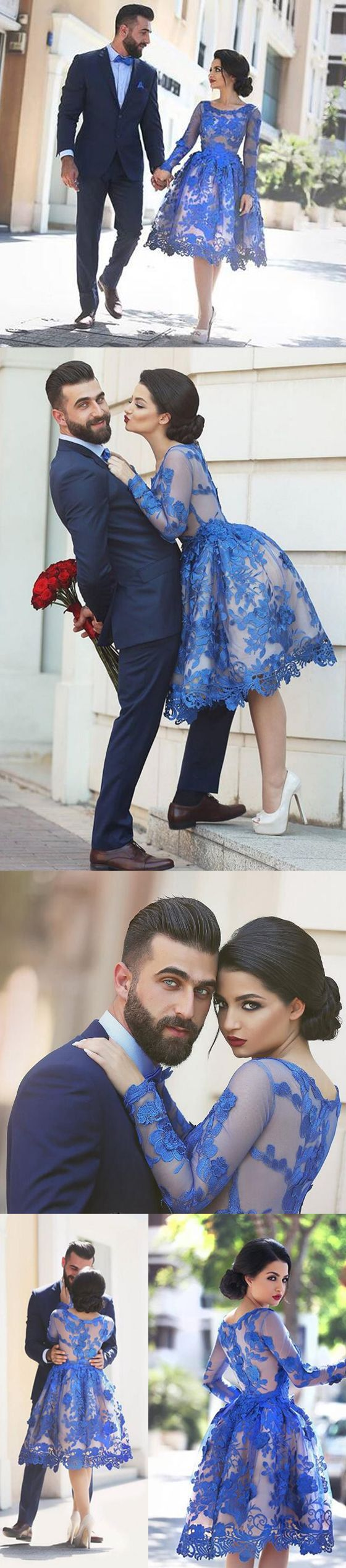 blue lace homecoming ,short prom dress ,long sleeves homecoming dress,scoop… http://www.coniefoxdress.com