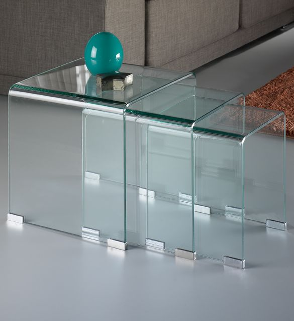 Transparent curved glass nest of tables | High End Side Tables | Juliettes Interiors London