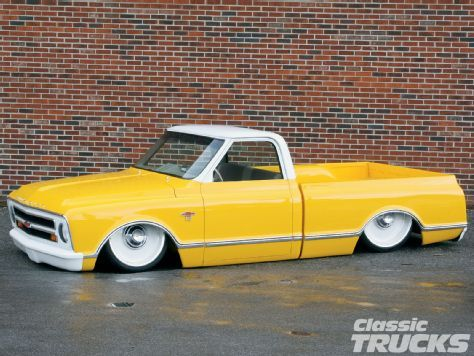 our new truck doesnt look exactly like this but it will look kind of similar.... not a s low and more classic.   1968 Chevy C-10
