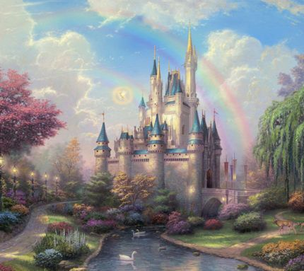 cinderella's castle  - disney artwork - Thomas Kinkade