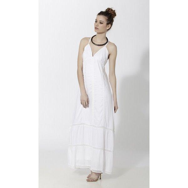 Vestido largo ibicenco con puntillas Blanco - Mauna Barcelona - fashion - moda