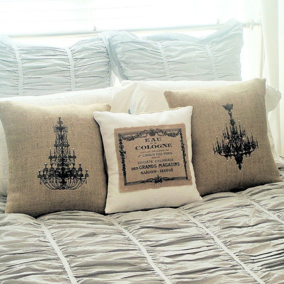 Burlap Pillow Covers set of two chandeliers by JolieMarche on Etsy