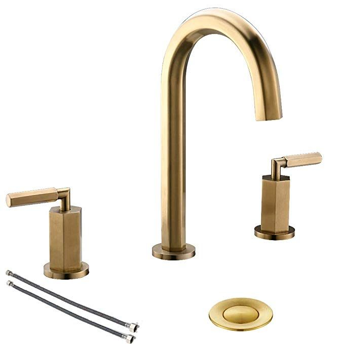 2 Handles 3 Holes Brass Widespread Brushed Gold Bathroom Faucet By