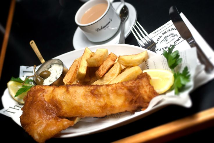 tasty traditional Seaside fish and chips from Colmans, South Shields.
