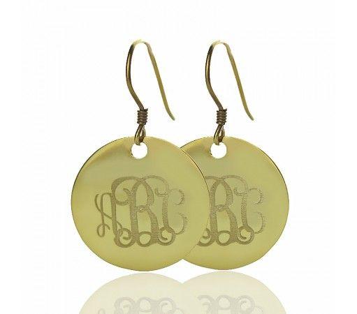 Hoop DISC Engraved Monogram Earrings in Solid Yellow Gold