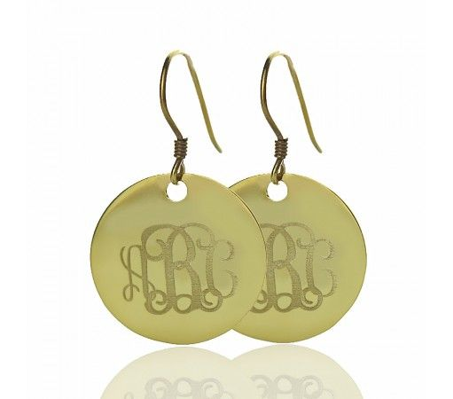Hoop DISC Engraved Monogram Earrings in Solid Yellow Gold