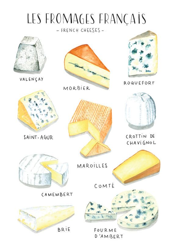 foodie artwork print, cheese poster, french cheese, meals poster, Meals print, meals artwork print, meals artwork, foodies present, meals illustration