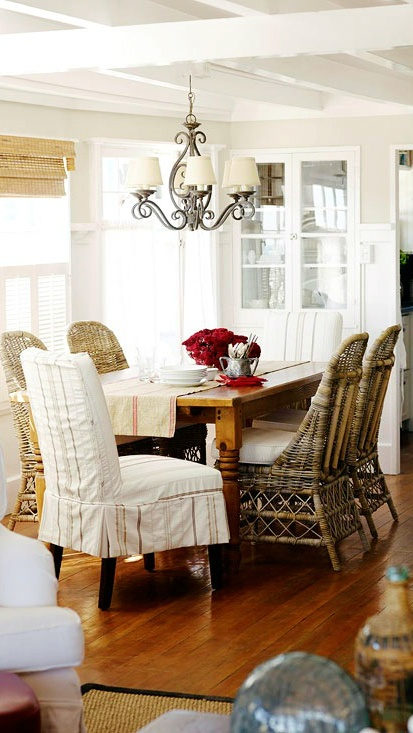 wicker furniture decorating ideas. coastal cottage style dining room with slipcover and wicker chairs furniture decorating ideas i