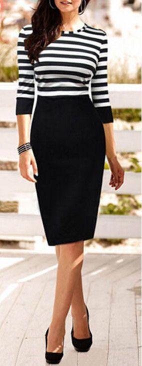 Stripe Pencil Dress //