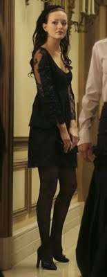 Black Lace Dress. image via Midwestern cliche. For all you Gossip Girl fans, you have to remember the black lace dress that Leighton Meester's character Blair Waldorf wore on the pilot episode. It was gorgeous.   I found a very similar dress to the one Blair Waldorf wears on the ASOS online store.    image via ASOS | Oh My Love 60's Lace Shift Dress With Fringed Sleeves 48.00 (the price is in Euros)