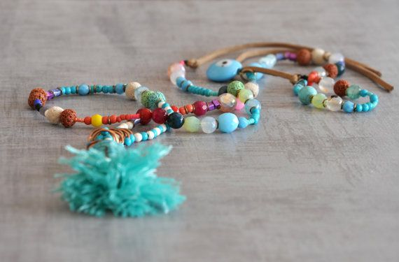 Boho Buddha Necklace  Beaded Bohemian Necklace  by stellacreations