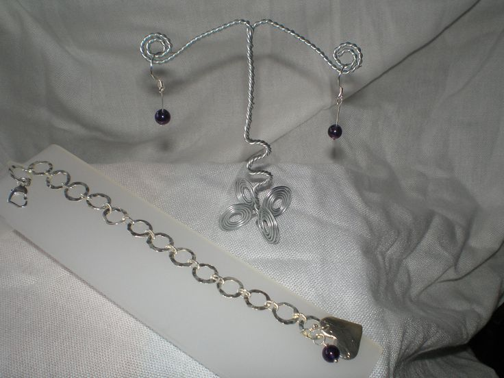Amethyst necklace  Sterling Silver/Metal Clay Earrings and Necklace