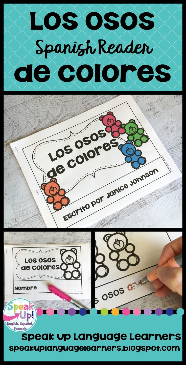 Spanish colors for preschool - Spanish Colors Reader Los Osos De Colores Simplified For Language Learners
