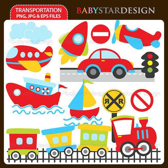 Transportation Clipart INSTANT DOWNLOAD by babystardesign on Etsy, $5.95
