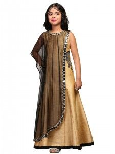 G3 Exclusive gold black raw silk party wear gown