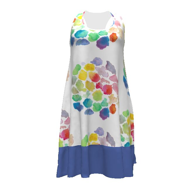 Christine Haynes Rumi Tank Dress made with Spoonflower designs on Sprout Patterns. Art moods. Wash away the blues in this bold watercolor print.