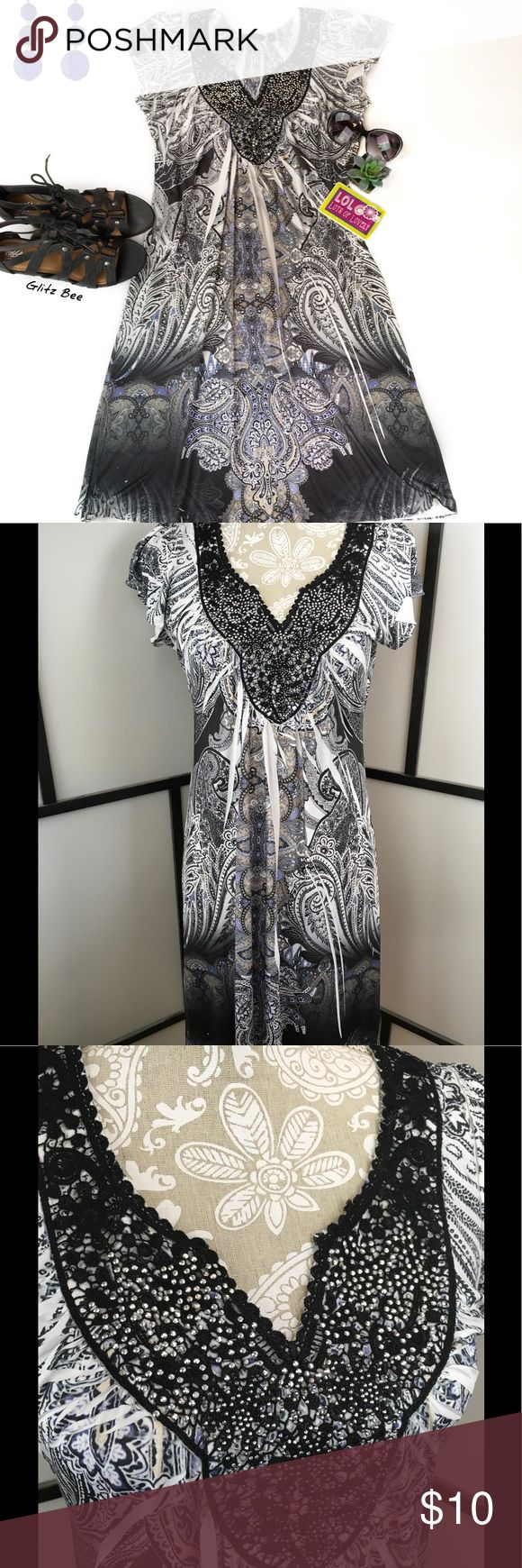 Black and White Sparkly Summer Dress, Large Sparkly black and white dress with extra soft polyester/spandex material and sparkles at the neckline. Size is petite large, and there are no flaws to note. Bust-19, Length-38.  This will be your new favorite go-to dress when you need to be comfortable and look stylish. Apt. 9 Dresses Midi