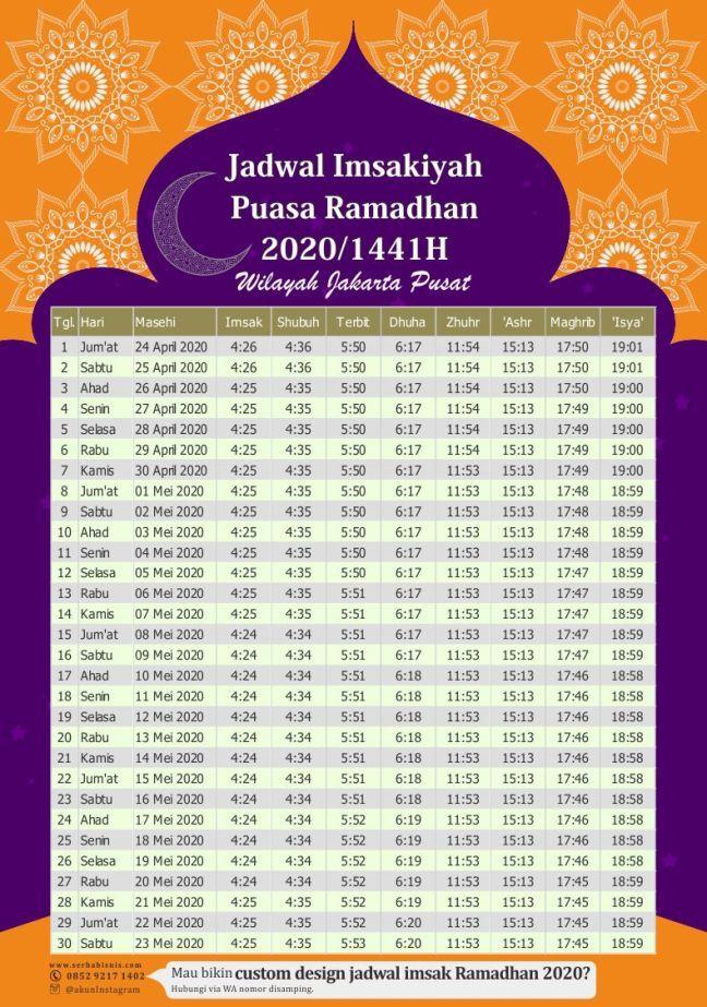Jadwal Imsakiyah 2020 Vector di 2020 Desain brosur