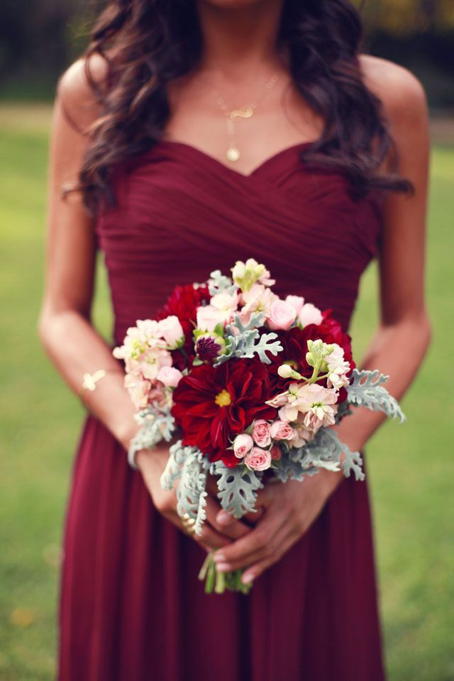 deep red bridesmaid dress and bouquet