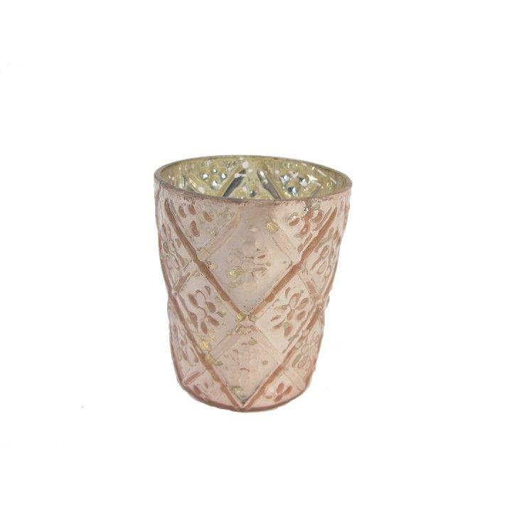 Waxinelichthouder glas glans. Deze roze glanzende waxinelichthouder heeft een lieflijk, speels patroon. #intratuin