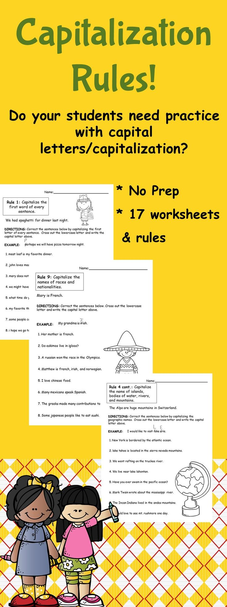 120 best grammar images on pinterest teaching ideas teaching capitalization packet when to use a capital letter no prep robcynllc Choice Image