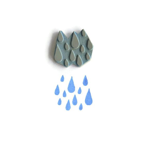 A Little Fall of Rain - Rubber Stamp by creatiate