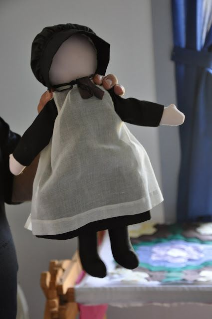 Amish Hand made doll held over top of a quilting frame ~ Sarah's Country Kitchen ~
