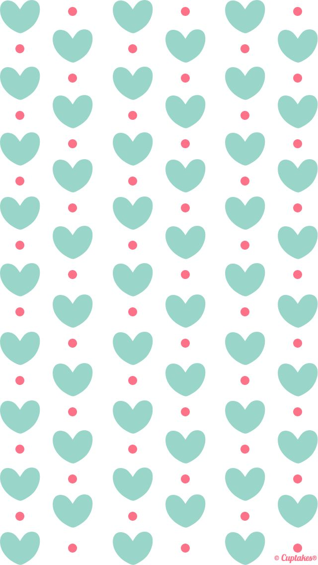 aqua hearts red dots