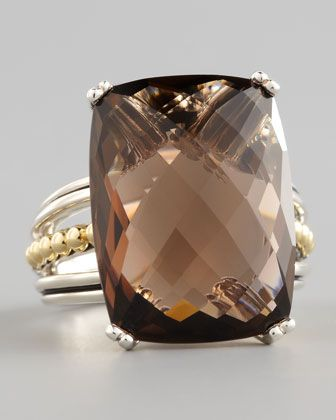 """Silver Prism Ring, Smoky Topaz by Lagos at Neiman Marcus.    Cushion-cut smoky topaz center.  Sterling silver and 18-karat yellow gold signature Caviar™ beading.  Stone, 3/4""""L x 2/3""""W.  Tapered band.  995$"""