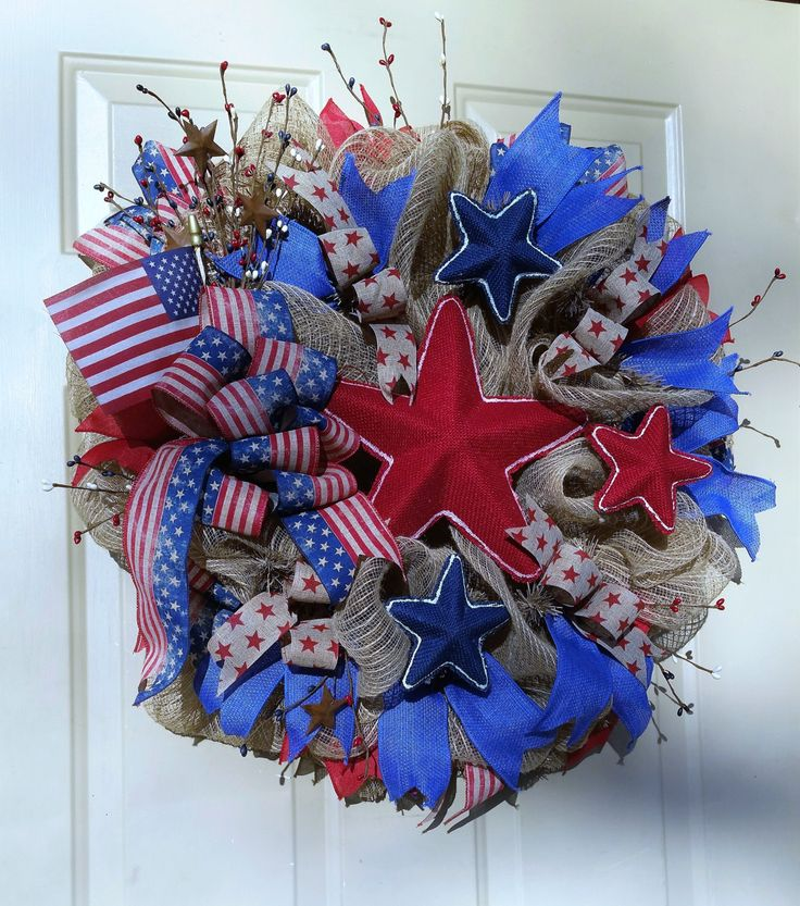 4th of July BUrlap Wreath, July 4th Wreath, Memorial Day Wreath, Patrioltic Wreath, July 4th Decor, Patriotic Decor, Memorial Day Wreath by RebelHeartedGypsy on Etsy