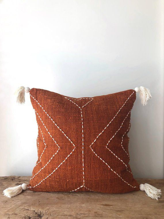 Burnt Orange Pillow With Tassels Organic Natural Raw Cotton Hand